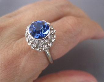 Vintage Silver Plate Blue Crystal Pave Ball Ring