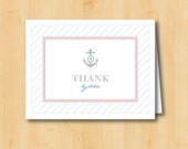 Nautical Baby Shower - Printable Thank You Card - INSTANT DOWNLOAD