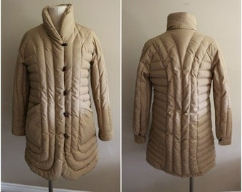 Vintage Quilted Toggle Puffer Jacket Coat - Size Medium - Winter - New York
