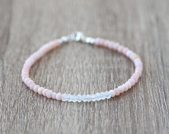 Moonstone Bar with Pink Opal Bracelet / Sterling Silver / 14K Gold Filled / Rose Gold /Stackable Gemstone Bracelet