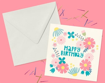 Botanical Happy Birthday Wreath Greeting Card. Blank Inside For Your Own Personal Message
