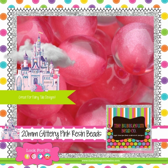 hot pink glitter beads gumball beads acrylic by. Black Bedroom Furniture Sets. Home Design Ideas