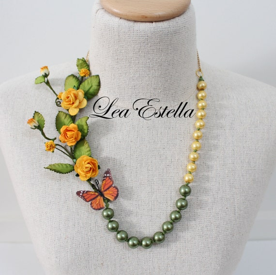 Yellow Flowers Statement Necklace Gold Pearl Necklace Summer Garden Necklace Fairy Necklace Butterfly necklace Boho necklace - Daffodil