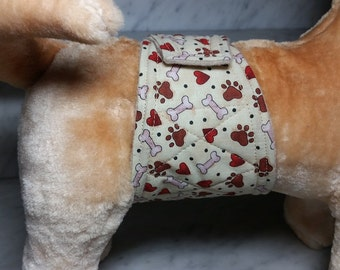 Belly Band Waist 12.50 x Width 3.00 inches Male Dog Wrap Diaper Belt by SewDog 3 Layers Quilted Padded Wrap # 023 Hearts Bones Paws