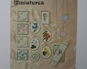 Make Mine Miniatures Cross Stitch booklet 1980. Millefiore designs, Japanese florals, wildflowers, butterflies, borders, alphabets