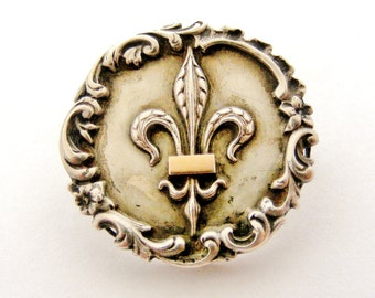Antique French fleur de lis brooch in silver and rose gold