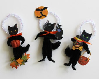 Black Cat Halloween Vintage Look Chenille Ornaments Set Three in the Series
