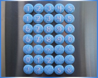 35 FROZEN Math Magnets. Blue Disney Typeface Font. Educational Learning Mathematics Counting Buttons. (bv001c) Math & Numbers metal magnets