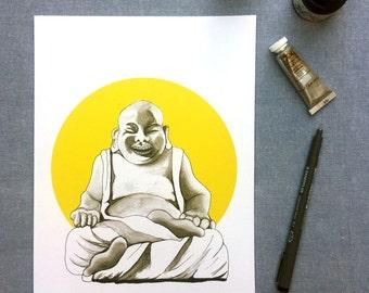 Happy Buddha watercolour print