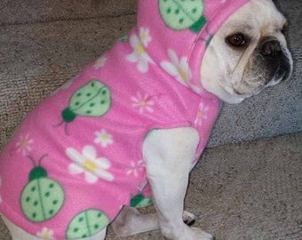 French Bulldog Pink Lady Bug  Fleece Hoodie