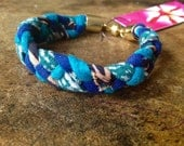Turquoise and Blue Braided Reclaimed Fabric Bracelet, Bohemian Modern Day Friendship Bracelet