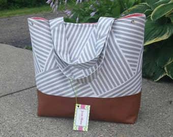 Gray stripes diaper bag,  ready to ship, Large gray and coral diaper bag, leather bottom, canvas with leather, tote Bag, Zig Zag,