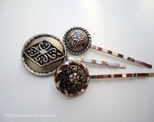 Vintage button hair grips - Silver pewter scroll swirl flower, emblem, and hearts decorative hair accessories set