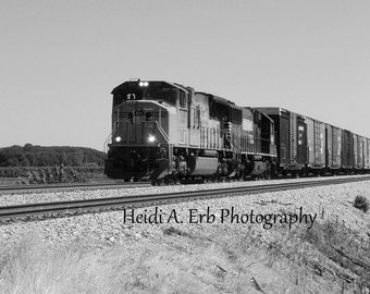 photo note card, blank note card, train note card, railway, Train photography, black and white card, Railroad, Black and white photography,