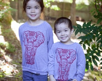 Ready To Ship!!!! Elephant On American Apparel Tri Blend Grey Pullover 2T,6T, 8Y, 12Y