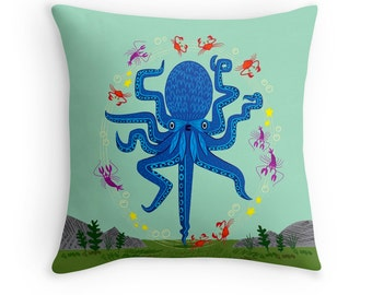 "Otto Learns How to Juggle - Children's Throw Pillow / Cushion Cover - Kids Decor - Animal Art - (16"" x 16"") by Oliver Lake"