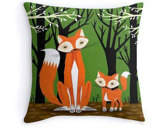"Two Fine Foxes - illustrated Animal - Fox - Throw Pillow / Cushion Cover (16"" x 16"") iOTA iLLUSTRATION"