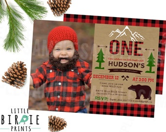 LUMBERJACK BIRTHDAY INVITATION - Lumberjack first birthday party invitation - Buffalo Plaid Invitation - Woodland Camping Bear Invitation