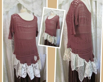 Lacey Plum Sweater, soft loose cotton knit shabby cottage gorgeous lagenlook revamped clothing, ruffle lace, Large