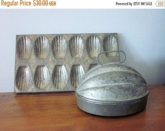 ON SALE Rustic Kitchen Pan and Pudding Mold, Madeline Pan and Pudding Mold, Cookie Pan, Vintage, Primitive, Farmhouse