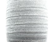 Silver Sparkle Fold Over Elastic  - Choose 1, 5, or 10 yards 5/8 inch FOE - Headbands Hair Ties Hairbow Supplies, Etc.