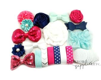 Baby Headband Kit The Celia, Navy, Fuchsia, Mint - Makes 12 Headbands - Baby Shower, Baby Headbands, DIY Headbands, Headband Making Kit