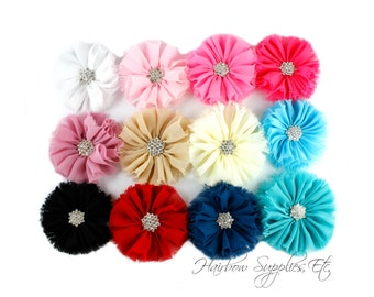 Ballerina Chiffon Flowers with Rhinestone 3 inch - Choose 1 or more Silk Flowers - YOU PICK Colors - Hairbow Supplies, Etc.