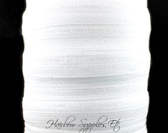 White Fold Over Elastic - Fold Over Elastic, Hair Elastic Bracelet, Elastic, Hair Elastic Tie, Elastic Ribbon, Elastic Hair Band, Elastic