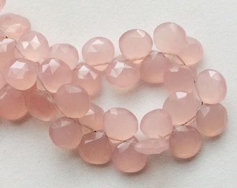 Rose Pink Chalcedony, Faceted Heart Beads, Pink Chalcedony Beads, 10mm, 10 Pieces
