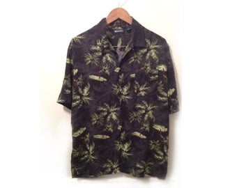90s Tropical Men's Palm Tree Print on Black Rayon Short Sleeve Shirt