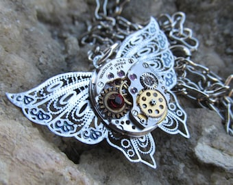 Steampunk Butterfly Filigree Watch Movement Necklace Pendant