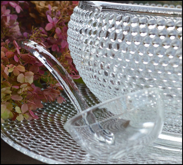 l e smith hobnail punch bowl set    great gatsby wedding