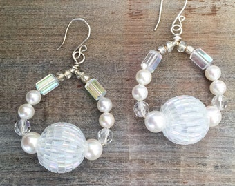 White Bridal Hoops // Pearl and Crystal