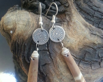 Rustic Sea Urchin Spine Earrings - PMC and Sea Urchin Spines - Fine Silver Spiny Dangles
