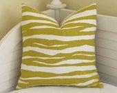 KATE SPADE for Kravet  Zebra in Chartreuse Linen Designer Pillow Cover - Square, Lumbar, Body Pillow and Euro Sizes