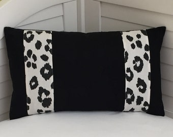 Black Linen Trimmed with Schumacher Iconic Leopard in Graphite Designer Lumbar Pillow Cover