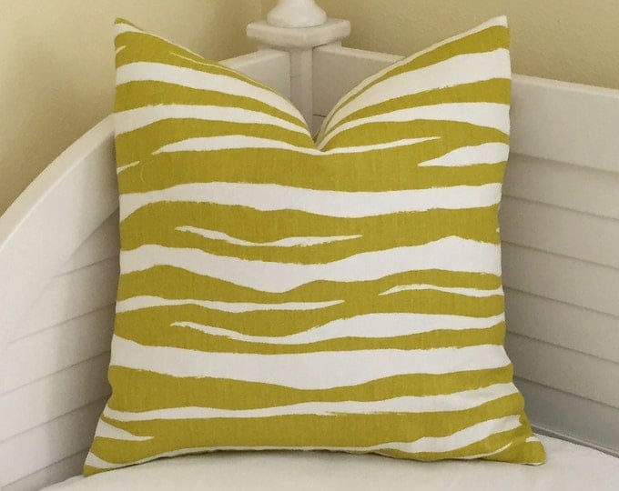 Zebra Stripe in Chartreuse Linen Designer Pillow Cover  - Square, Lumbar, Body and Euro Sizes