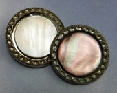 2 Carved Pearl Button Mother Of Pearl Large Vintage Black and White Pearl 409