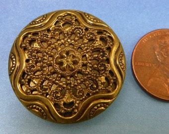 Victorian Antique Button 1 Inch Twinkle Button Ornate Mirrored Gold Brass Button 93