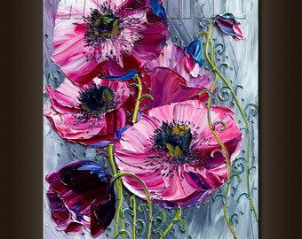 Poppy Poppies Floral Canvas Modern Flower Oil Painting Textured Palette Knife Original Art 12X16 by Willson Lau