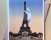 Cat Card, Eiffel Tower, Cat Art Print, Paris, Funny Cat Card, Alternate Histories, Geekery