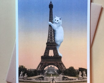 Cat Card, Eiffel Tower, Cat Art Print, Paris, Funny Cat Card, Alternate Histories, Geekery