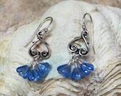 Antique Silver Sapphire Blue Flower Drop Earrings