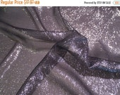 ON SALE Black with Silver Metallic SIlk Chiffon Fabric--One Yard