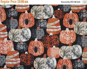 ON SALE Orange and Black Halloween Pumpkin Print Pure Cotton Fabric--One Yard