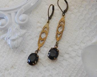 Black Earrings, Art Deco Earrings, Art Nouveau, Old Hollywood, Vintage Glass Earrings, Estate Jewelry, Retro Glam, Jet Black Earrings