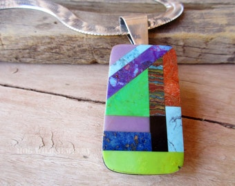 Women's Handcrafted Metal Smith Intarsia Sterling Silver Pendant Necklace
