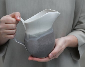 Ceramic Pitcher - Pottery Vase in Charcoal and White