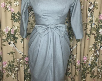 Late 50's Charcoal Gray Wiggle Dress. Beautifully detailed.