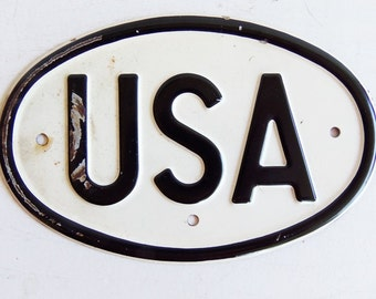 Vintage USA Sign, Oval Motorcycle License Plate